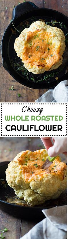 Perfect side dish for the holidays: Whole Roasted Cauliflower with Cheese! No mess, everything prepared ahead, no stress right before guests come. via @Green Healthy Cooking