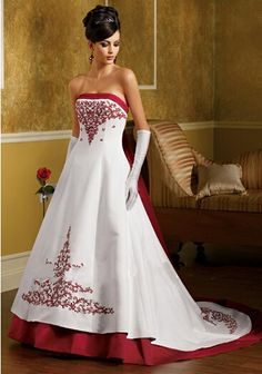 Cheap Luxurious Hot Sale Satin Embroidery With Long Bow Chapel Train Red And White A-Line Wedding Dress Free Measurement