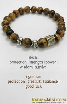 Skull Bracelets | Reiki Healing | Mens & Womens Yoga Jewelry | #Skulls symbolize protection, strength, power, fearlessness, wisdom and guidance, and surviving through a difficult time. #Tigers #Eye #TigersEye #BoHo #zen #reiki #Bracelets #BEADED #Gemstone #Mens #GiftsForHim #Lucky #womens #Jewelry #gifts #Chakra #FitMom #Blog #Kundalini #LawofAttraction #Love #Mantra #Mala #wisdom #CrystalEnergy #Spiritual #Gifts #Blog #Mommy #Meditation #mindfulness #Healing #friendship #FathersDay