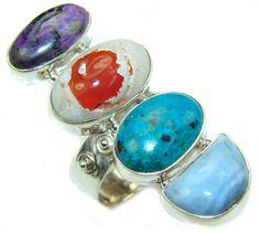 $63.15 Big!+Secret+Beauty!+Multigem+Sterling+Silver+Ring+s.+9+1/2 at www.SilverRushStyle.com #ring #handmade #jewelry #silver #multigem