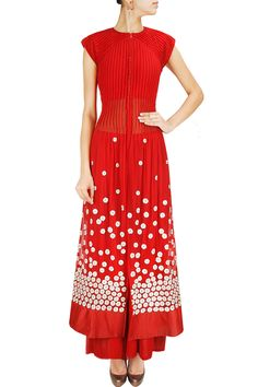 Red embroidered sheer pleated anarkali jacket with palazzo pants