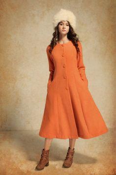 Long Wool Coat/ Wool Coat Jacket / Cashmere Coat / Long Winter Coat / Winter Wool Coat / Orange Coat Dress by camelliatune on Etsy https://www.etsy.com/listing/89957403/long-wool-coat-wool-coat-jacket-cashmere