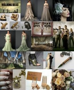 Walking Dead/zombie wedding inspiration. The green and the oatmeal dresses are awesome...