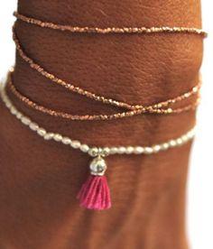 Vivien Frank Designs Rose Gold Triple Wrap Bracelet in Pink