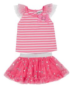 Loving this Pink & White Stripe Flutter Top & Skirt - Infant, Toddler & Girls on #zulily! #zulilyfinds