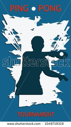 Ping Pong Tournament - grunge background - silhouette of player with racket - vector art. Sports Poster