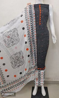Designer Cotton Checked Dress Material With Dupatta Hand Painted Dress, Painted Clothes, Indian Fashion Dresses, Fashion Wear, New Dress Design Indian, Embroidery Suits, Embroidery Patterns, Kurta Designs Women, Dress Neck Designs