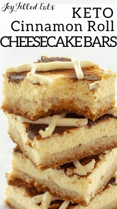 Cinnamon Roll Cheesecake Bars are my new favorite breakfast, afternoon snack, & dessert. They are rich & creamy with sweet cinnamon & cream cheese icing. I promise these will be the best keto cheeseca Low Carb Sweets, Low Carb Desserts, Low Carb Recipes, Healthy Desserts, Healthy Recipes, Cinnamon Roll Cheesecake, Keto Cheesecake, Keto Cookies, Bon Dessert