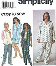 Simplicity #8922.  Pajamas for cool or warm weather. (More information and patterns on website.)  Plus sizes.