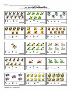 FREE worksheets, create your own worksheets, games. Addition And Subtraction Practice, Math Addition Worksheets, First Grade Worksheets, Subtraction Worksheets, Kids Math Worksheets, 1st Grade Math, Math Activities, Preschool Math, Kindergarten Math