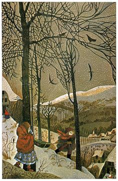 Snow Queen - Errol Le Cain.  TREES INTRIGUE ME....THESE ARE WONDERFUL!!