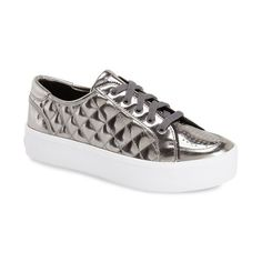 Rebecca Minkoff 'Sandra' Platform Sneaker found on Polyvore featuring shoes, sneakers, gunmetal, perforated sneakers, polka dot sneakers, leather platform shoes, metallic sneakers and lacing sneakers