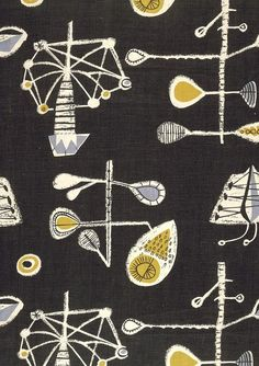 Lucienne Day was an inspirational designer who& work is not dated and still looks fresh today, her ethos was high quality affordable des. Motifs Textiles, Textile Fabrics, Vintage Textiles, Textile Prints, Textile Patterns, Vintage Patterns, Textile Design, Fabric Design, Print Patterns