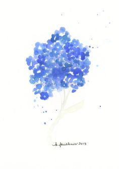 Forget-me-not original watercolor painting by Karen Faulkner