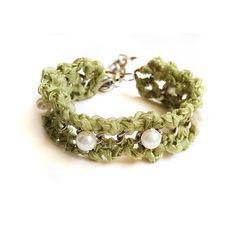 Handmade  ribbon bracelet, mint ribbon, crochet bracelet, Bridesmaid Jewelry , Bridesmaid gifts, pearls beaded bracelet, chain, Pearls