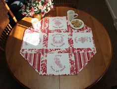 Love Is Flowers and Hearts Octagonal Table Topper by StitchedByCJ