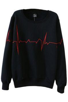 Simple Line Embroidery Round Sleeve Long Sleeve Sweatshirt - Beautifulhalo.com