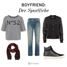 +++ Boyfriend Style +++ Boyfriend-Jeans, graues T-Shirt mit Druck, schwarze Collegejacke, schwarze Turnschuhe, gestreifetr Schal // sporty. used boyfriend jeans, grey t-shirt, black college-jacket, ankle high sneakers, striped scarf