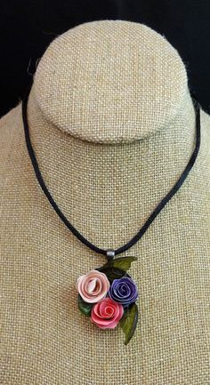 Hand Quilled Rose Paper Necklace Pendant Silk by StippofallTrades Quilled Roses, Quilling, Jewelry Design, Unique Jewelry, Trees To Plant, Planting Flowers, Projects To Try, Gardening, Pendant Necklace