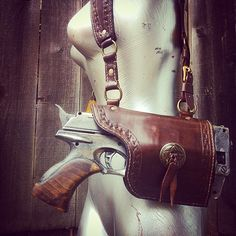 #tbt Modified Nerf Maverick with shoulder rig. 1 of 2  #nerf #leather #leathergoods #custom #steampunk #edc #dailycarry #nerfgun
