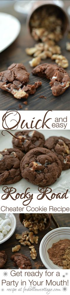 Rocky Road Chocolate Chip Cheater Cookie Recipe at foxhollowcottage.com - These cookies taste like a Party In Your Mouth!
