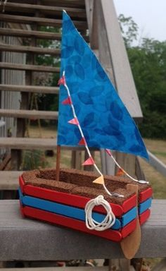 Make a boat that floats with foam blocks.