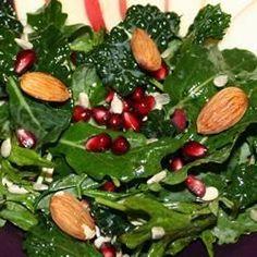 Kale Salad with Pomegranate, Sunflower Seeds and Sliced Almonds - Allrecipes.com