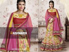 Floral is in-trend now and what better then to add colour and a pretty Dupatta to Lehenga-Choli... Get this Lehenga-Choli Online: http://aishwaryadesignstudio.com/yellow-red-color-floral-printed-lehenga-choli
