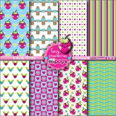 Lilipops - Digital paper - Instant Download - Stationery Printable - Kawaii - Scrapbook supplies - Confetti - Scrapbooking - Strawberries