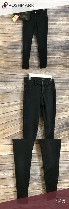 "J Brand super skinny stretch mid rise black jeans J Brand super skinny stretch black jeans. Cotton blend with 4% elastane. Size 27.  13.5"" waist.  9.5"" rise.  28"" inseam. J Brand Jeans Skinny"