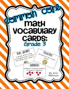 3rd Grade Math Vocabulary Cards- aligned to the Common Core!