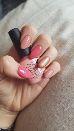 Spring Summer Pink and Nude Nails CND Shellac