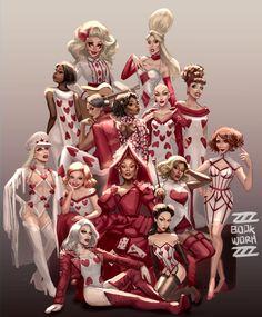 Rupaul with the Winners of RuPaul's Drag Race Drag Queens, Rupaul Drag Race Winners, Jinkx Monsoon, Character Art, Character Design, Rupaul Drag Queen, Queen Art, Queen Of Hearts, Alice In Wonderland