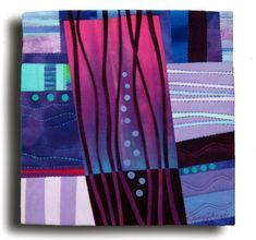 """Plum Plaza  Hand dyed cottons, fused, hand and machine quilted, ~12"""" squarish  Art quilt by Melody Johnson"""