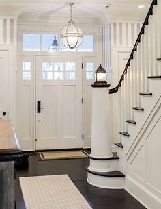 Nautical Lighthouse Newel Post Ideas for the Base of your Stairway: http://www.completely-coastal.com/2016/06/nautical-lighthouse-newel-post-for-stairway.html Gorgeous examples of lighthouse newel posts, including a faux painting one!