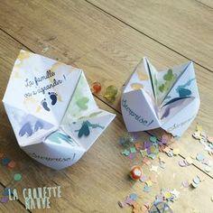 Cocotte en papier surprise pour faire une annonce originale : - annonce grossesse , heureux évènement, demande à la marraine, au parrain : Cartes par la-chouette-mauve