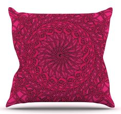 Mandala Spin Berry by Patternmuse Throw Pillow