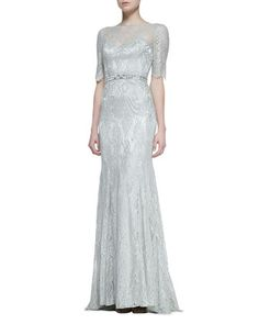 3/4-Sleeve Lace Gown with Beaded Waist, Celadon by Theia at Neiman Marcus. I want this dress!
