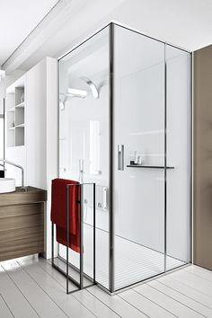 A made-to-measure shower enclosure with swing door characterized by a slender linear hinge, light satined aluminum profile and tempered transparent glasses.