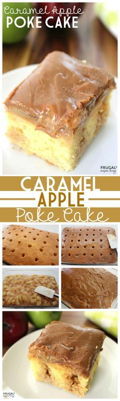 Caramel Apple Poke Cake on Frugal Coupon LIving. Fall Cake Idea, Caramel Apple recipe, easy to make cake using a cake box mix. Poke Cakes, Poke Cake Recipes, Layer Cakes, Cupcakes, Cupcake Cakes, Cake Cookies, Rose Cupcake, Köstliche Desserts, Delicious Desserts