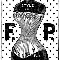 corset clip art, F P corset, black and white graphics, vintage fashion clip art, Bridgeport Corset Co, Fitzpatrick Somers