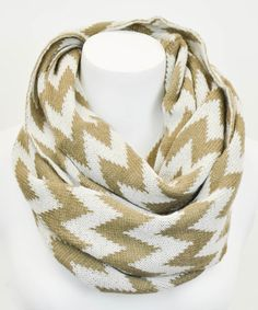 Look what I found on #zulily! Mocha & White Zigzag Infinity Scarf by Leto Collection #zulilyfinds