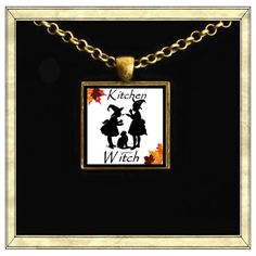 kitchen witch  Handmade pendant bezel with glass by IttyBaubles, $13.95