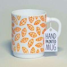 Leaves Mug - hand painted mug by Tim Easley.