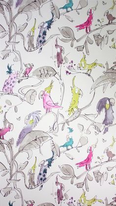I love whimsical wallpaper. Quentin Blake Cockatoo wallpaper Osborne & Little: - children's room Downstairs Cloakroom, Downstairs Toilet, Girl Room, Girls Bedroom, Osborne And Little, Kids Wallpaper, Nursery Wallpaper, Cloakroom Wallpaper, Quirky Wallpaper