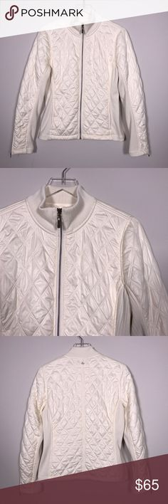 """[Prana] Diva Quilted Jacket Ivory Cozy Winter Zip Diamond quilted jacket with cozy Sherpa lining. Zip front. Ribbed neck, sleeve, and side panels. Hits at hip. Front zip pockets. Zippers at cuffs. Water repellent finish.   🔹Pit to Pit: 18"""" 🔹Length: 24"""" 🔹Sleeve Length: 25"""" 🔹Shoulders: 15"""" 🔹Condition: Excellent pre-owned condition. No flaws.  *H18 Prana Jackets & Coats Puffers"""