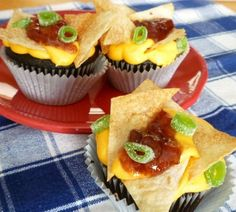 Nacho Cupcakes- While they may look savory, these Nacho Cupcakes are really a sweet treat.  Topped with frosting and cinnamon sugar chips!