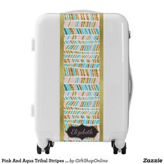 Pink And Aqua Tribal Stripes Personalized Luggage