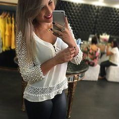 2017 New Spring Women White V Neck Blouse Mesh White Lace Shirt S M L XL