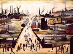 Lowry -The Canal Bridge Painting of workmen streaming across a bridge, in front of a landscape of factory chimneys and small houses. Salford, Bridge Painting, Spencer, English Artists, British Artists, Landscape Drawings, Art Uk, Naive Art, Art For Art Sake